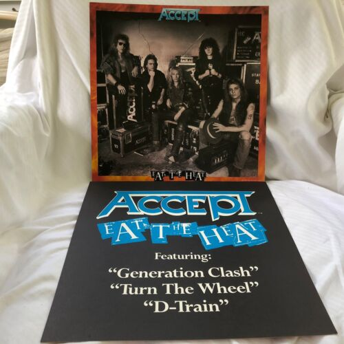 ACCEPT Eat The Heat 2-sided 12 x 12 Promo LP Flat / slick / Poster  -- RARE --