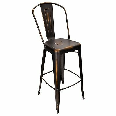 New Oversized Viktor Steel Restaurant Bar Stool With Distressed Black Finish