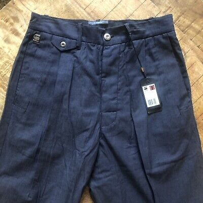 G-star Raw Pleated Pants Chinos Correct Bronson Blue Mens Size 31X32