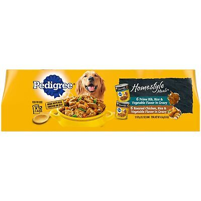 Pedigree Homestyle Meals Adult Wet Dog Food, 13.2 oz Cans Prime Rib, Chicken