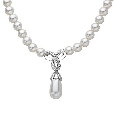 Crystaluxe Drop Necklace Swarovski Crystals & Freshwater Pearls Sterling Silver