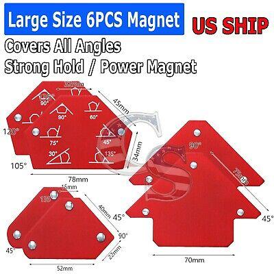 6pcs Arrow Welding Magnet Set Welder Soldering Angle Holder Assorted Strength
