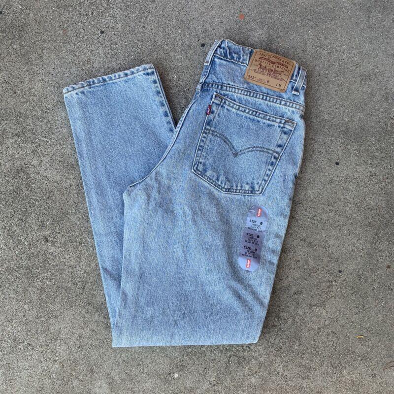 Vintage 90s Levis 512 High Waisted Slim Fit Mom Jeans Light Blue Denim Deadstock