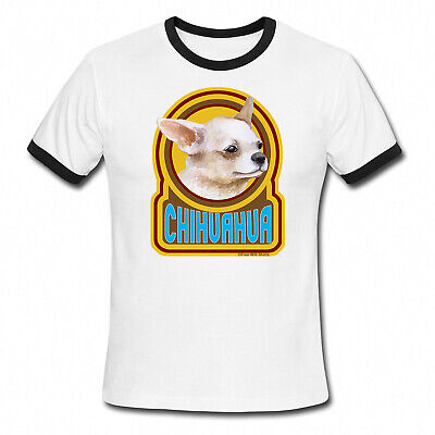 CHIHUAHUA Dog Mens Ladies Ringer T-Shirt Retro Style Gift Birthday