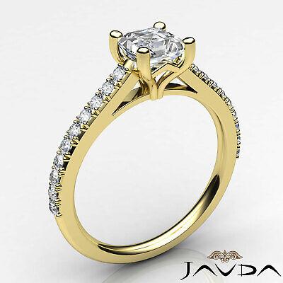 Asscher Diamond Double Prong Set Engagement Ring GIA G VS2 18k White Gold 0.8Ct 8