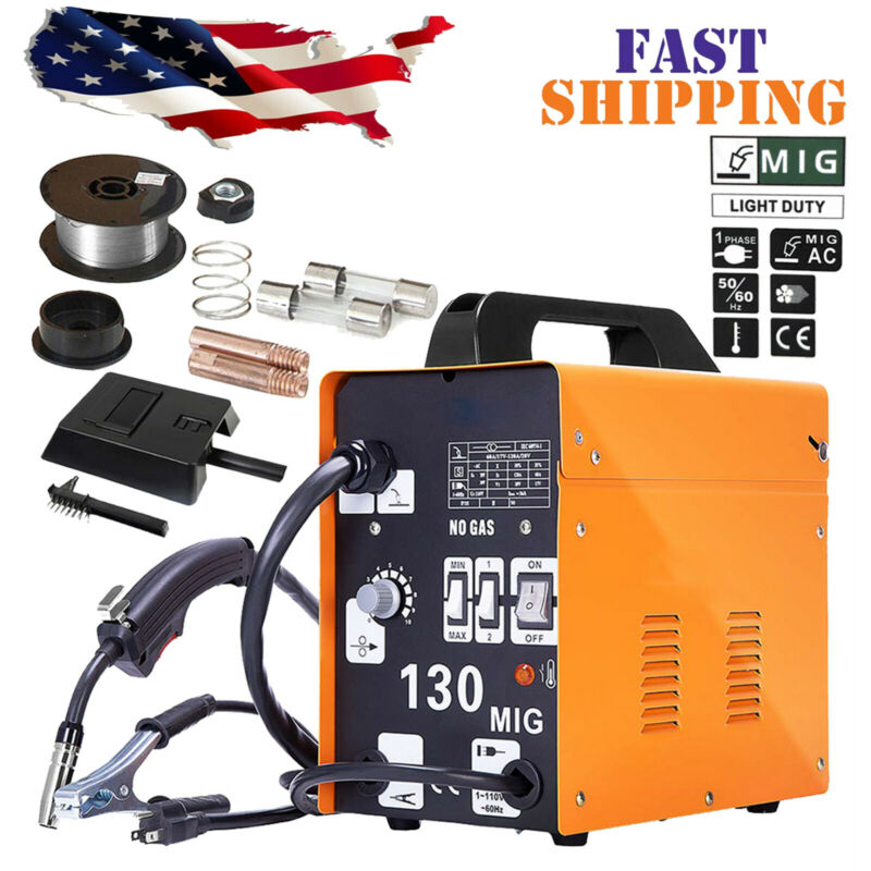 MIG 130 AC Flux Core Wire Automatic Feed Welder Welding Machine w/Free Mask 110V