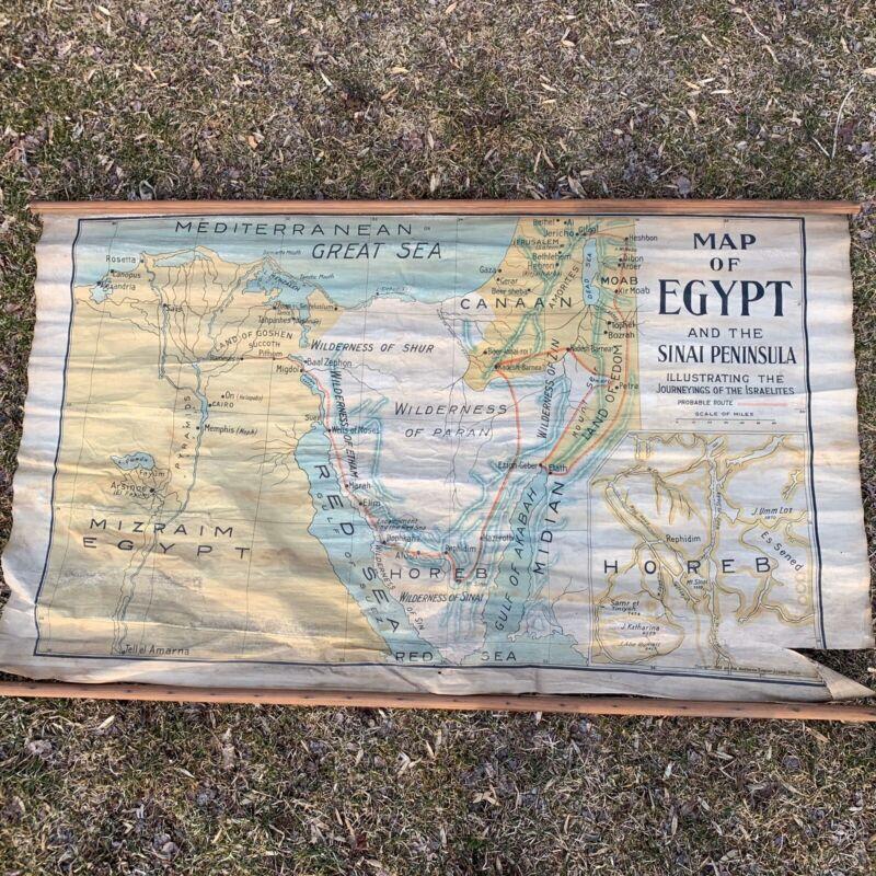 1903 Antique Map of  EGYPT Sinai Peninsula Journeyings Israelites Linen School