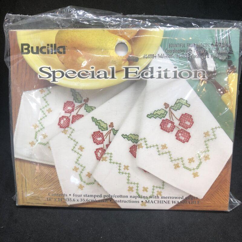 Bucilla Cherry Napkin Set Cross Stitch Bountiful Fruit Special Edition 64986 New
