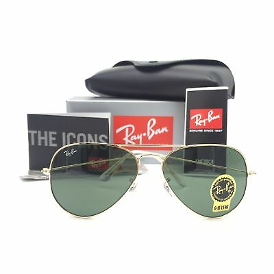 New Ray-Ban RB3025 W3234 Gold Aviator Sunglasses w/ G-15 Green Lenses 55mm