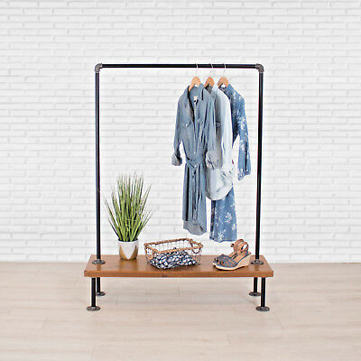 Industrial Pipe Clothing Rack With Cedar Wood Shelf By William Roberts Vintage