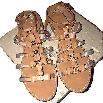 Tory Burch Kira Gladiator Sandals Tan Leather Gold Bows Jelly Strappy Women 9 M