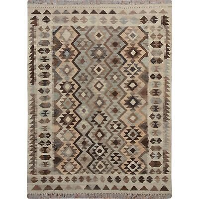 "5'x6'6"" Afghan Reversible Kilim Vegetable Dyes Pure Wool Hand Woven Rug R57492"