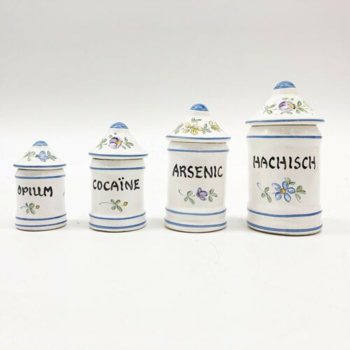 Vintage Signed French Porcelain Apothecary Druggist Four Jar Set
