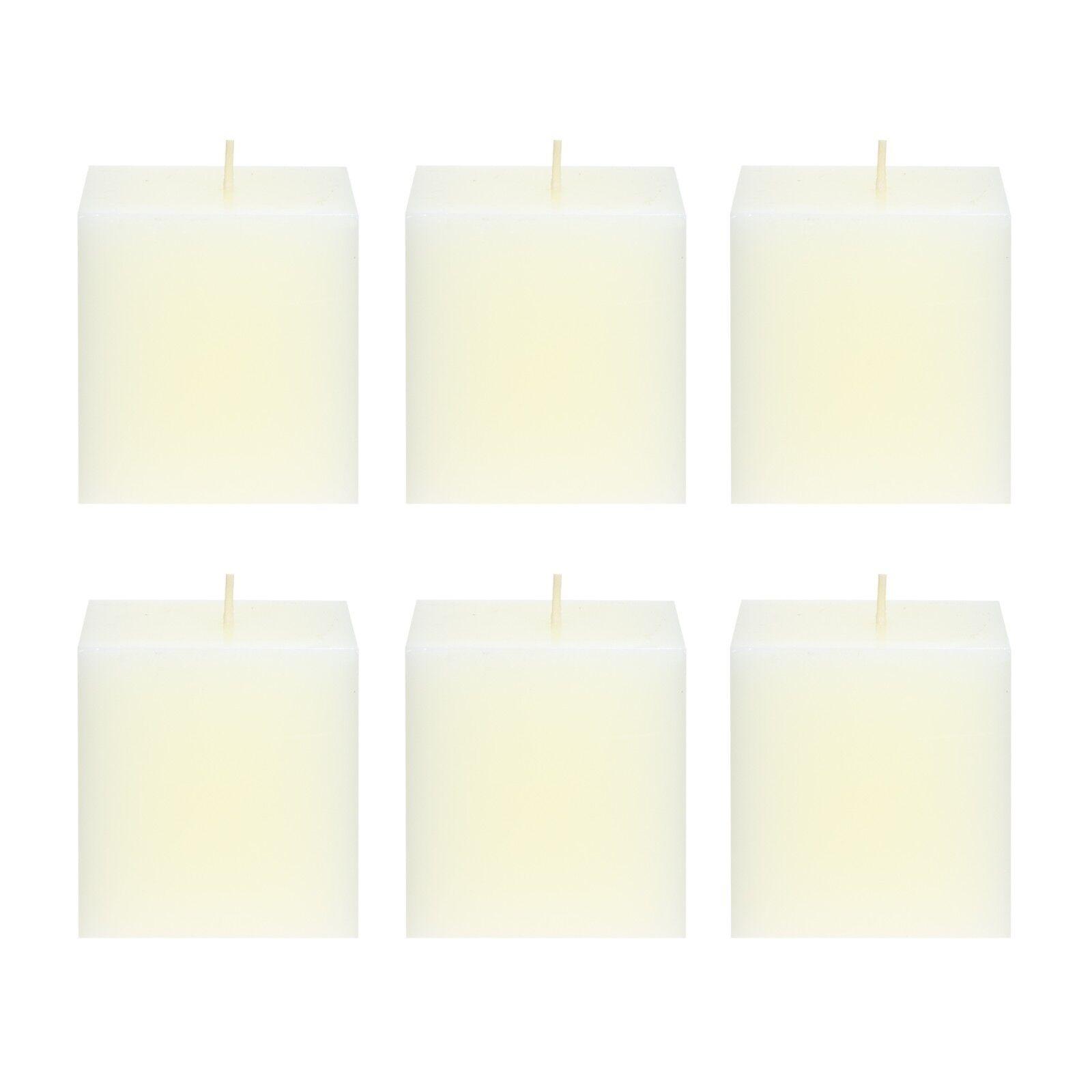 Mega Candles 3 pcs Unscented Ivory Square Pillar Candle   Ha
