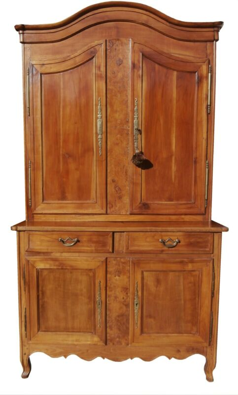 FRENCH LOUIS XV CARVED CHERRY & BURL BUFFET DEUX CORPS CABINET ENTERTAINMENT CTR