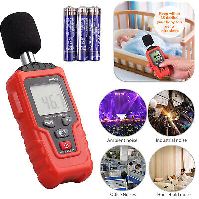 Digital Sound Level Meter Temperature Noise Volume Measuring Range 35-135dba