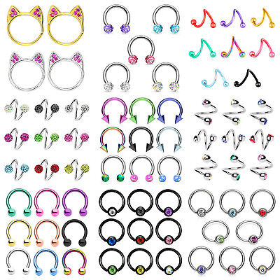 Surgical Steel Captive Bead Ring (Surgical Steel Captive Bead Ring Horseshoe Hoops Tongue Nipple Labret Rings)