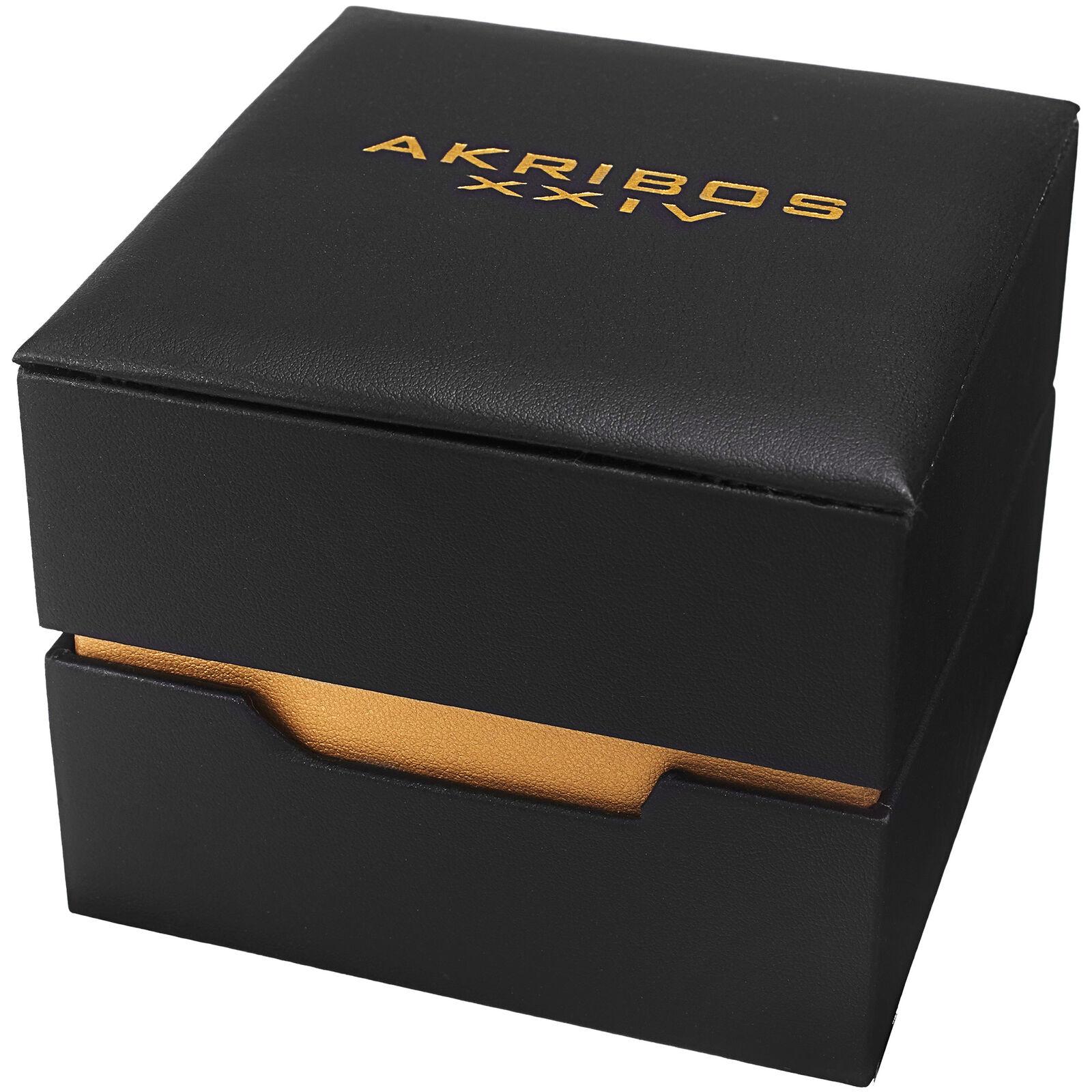 Men's Akribos XXIV AK716 Multifunction Day Date Stainless Steel Mesh Watch