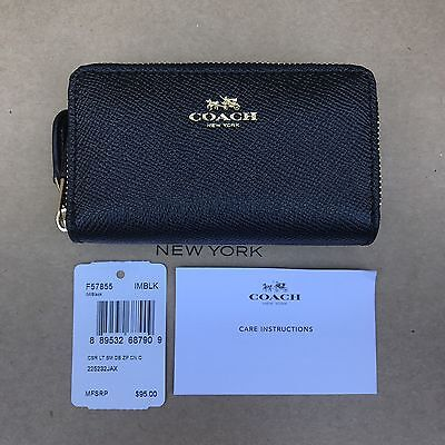 COACH Crossgrain Small Double Zip Coin Case Card holder Wallet 57855 NWT Black