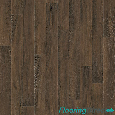 Dark Oak Wood Effect Vinyl Flooring Kitchen Bathroom Lino Cushion