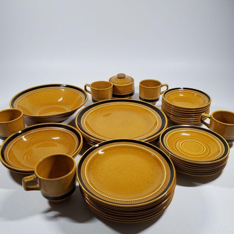 FUJI STONE Tahiti JAPAN Set Lot  Plates Bowls Saucers Cups Dishes