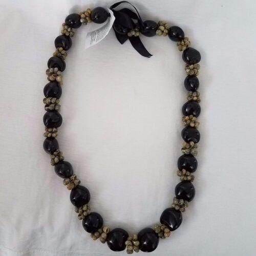 Black Kukui nut with Green Mongo shell necklace hawaii graduation gift **FREE SH