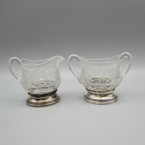 Cambridge Crystal Sterling Silver Small Creamer & Sugar Set