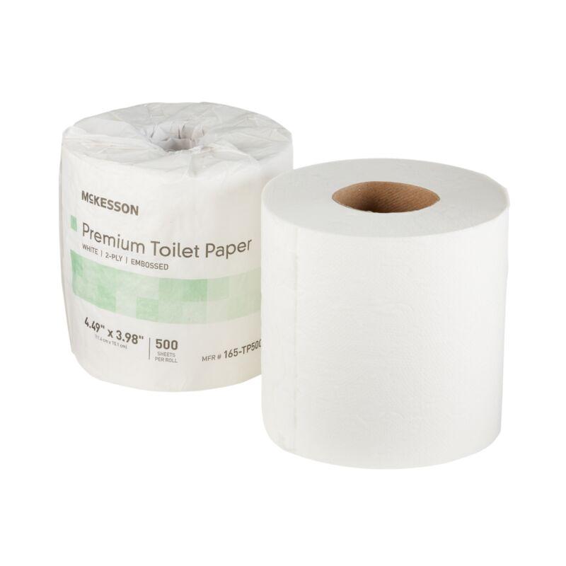 80 McKesson Premium 2-Ply Bathroom Toilet Tissue Paper Rolls White 165-TP500P