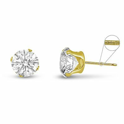 Solid 14K Yellow Gold Round Genuine White Topaz April Stud Earrings Size - 14k Genuine White Topaz Earrings