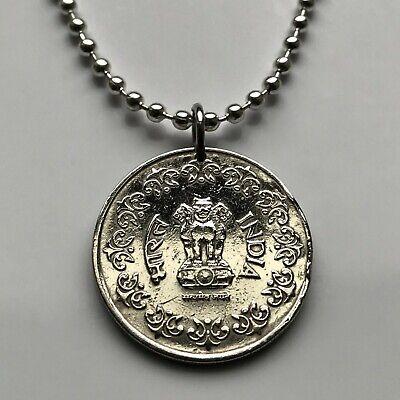1985 India 50 Paise coin pendant Sarnath Ashoka Lion Capital Bombay Delhi 001150