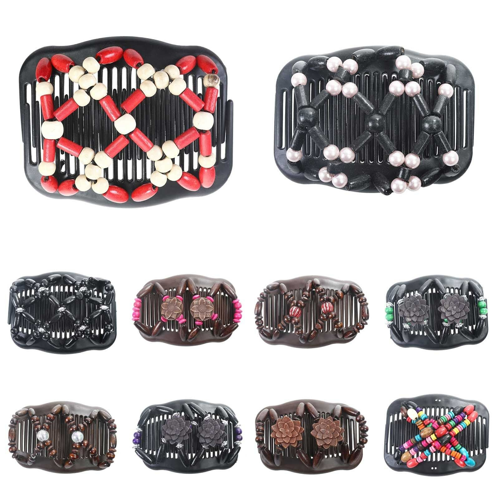 Women's Easy Magic Wood Beads Double Hair Comb Clips Slide S