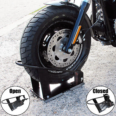 Motorcycle / Motorbike Front Wheel Stand Chock Stay Stand Bike Bolt Down Secure