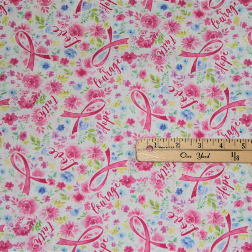 Love Pink Rose Ribbons Breast Cancer Awareness Cotton Fabric  1/2 Yard  #7197