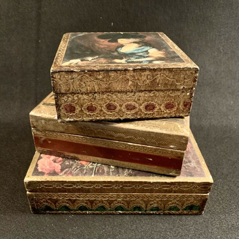 Trio of Vintage Florentine Wood Boxes - Keepsake - Jewelry - Made in Italy