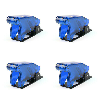 4pcs Toggle Switch Boot Plastic Safety Flip Cover Cap 12mm Clear Blue Ue