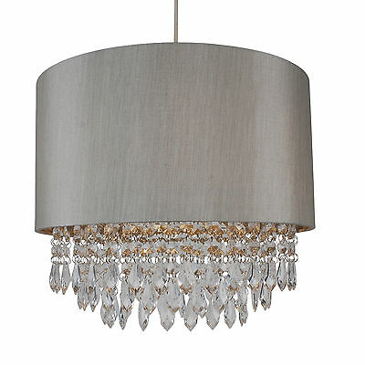Modern Easy Fit Drum Shade Silver Fabric Ceiling Pendant Light Shade Chandelier Drum Shade Ceiling Light