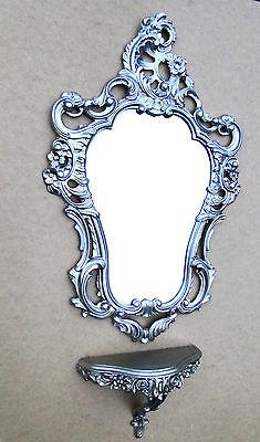 Liberty Möbel Kommode (Console Muro Antico Specchio da Parete Barocco Argento 76x50 Stile Liberty Bagno)