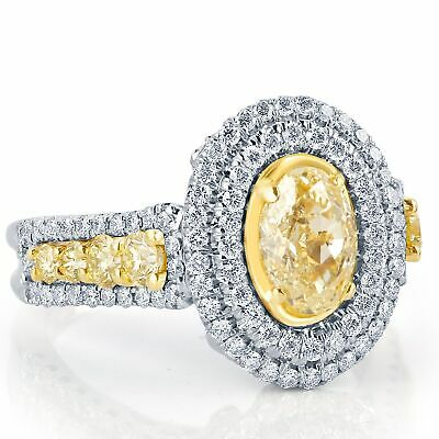 GIA Certified 2.52 Ct Yellow VS2 Oval Cut Graduated Side Diamond Engagement Ring