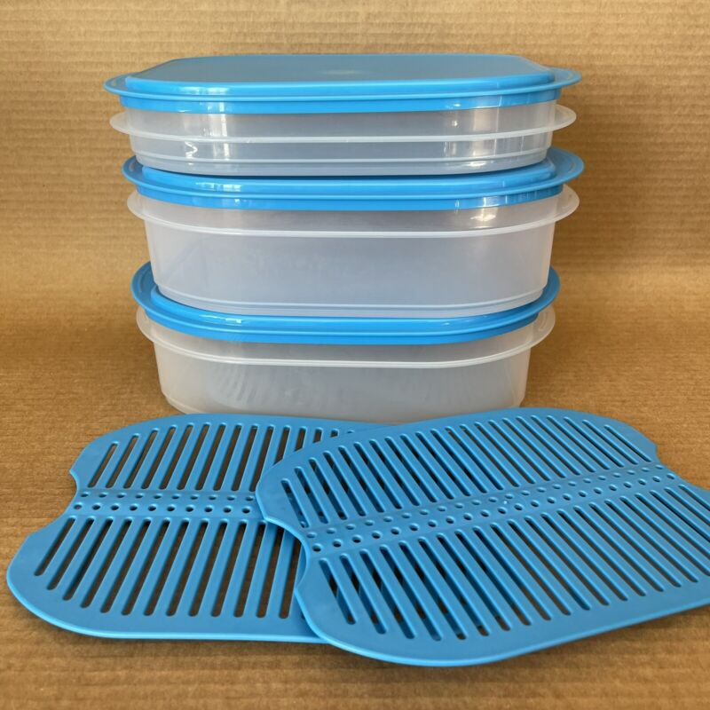 Tupperware Fridge Stackables Set Deli Meat Cheese Toppings Keeper Blue New