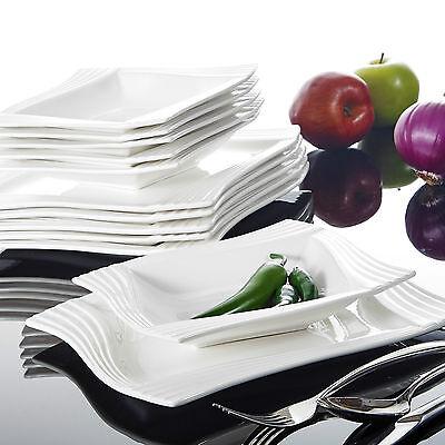 Malacasa, Serie Amparo 24 tlg. Porzellan Tafelservice Geschirr Set für 12 Person