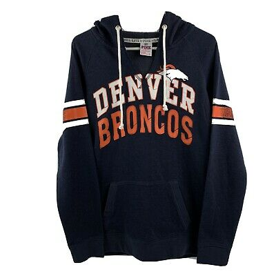 Victoria's Secret Pink 5th & Ocean NFL Denver Broncos Blue Pullover Sweatshirt L Denver Broncos Womens Sweatshirts