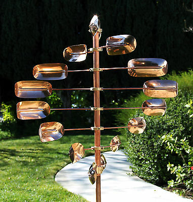 Stanwood Wind Sculpture: Kinetic Copper Spinner - Lucky 8 Twirler Copper Wind Sculpture