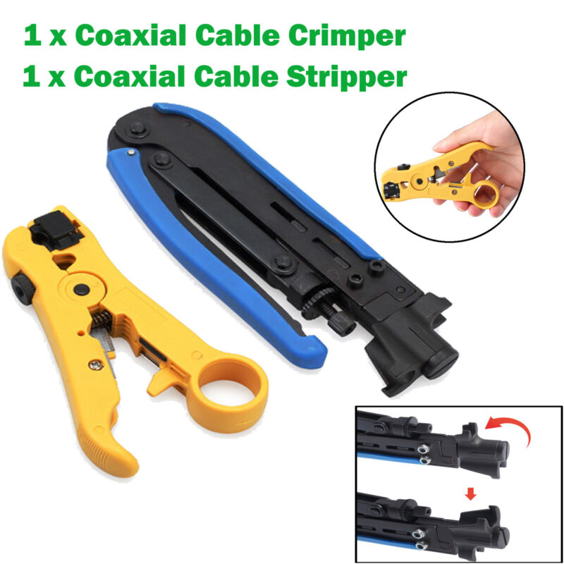 Coaxial Compression F Connector Crimper Stripper Tool Kit RG6 - RG59 Coax Cable