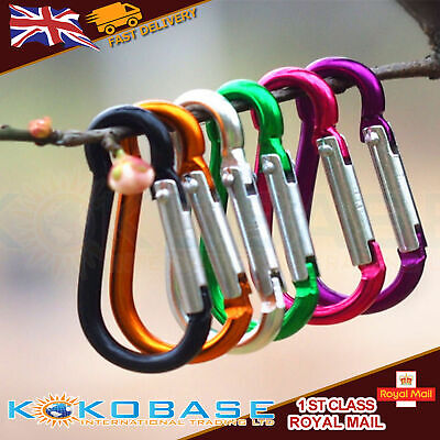10 x Carabiner Small Spring Clip Snap Clasp Hook Keyring Carabina Karabiner - Small Carabiner