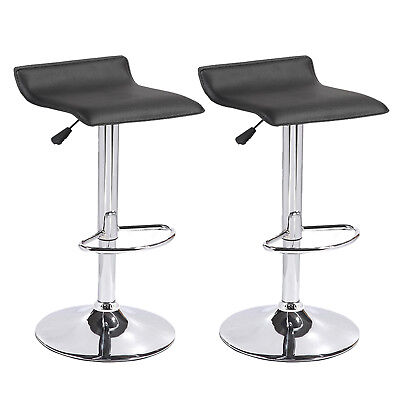 Set of 2 Black Counter Height Swivel Seat Chrome Base Bar Stools Dinning Chairs