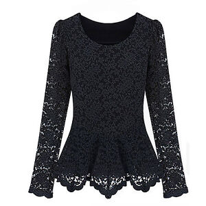 Women Fashion Designer Collect Lace Sheer Long Sleeve Peplum Jumper Blouses Tops