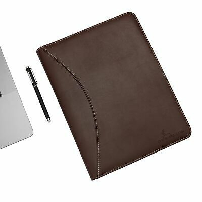 Deerlux Brown Leather Business Padfolio Portfolio With Large Brown