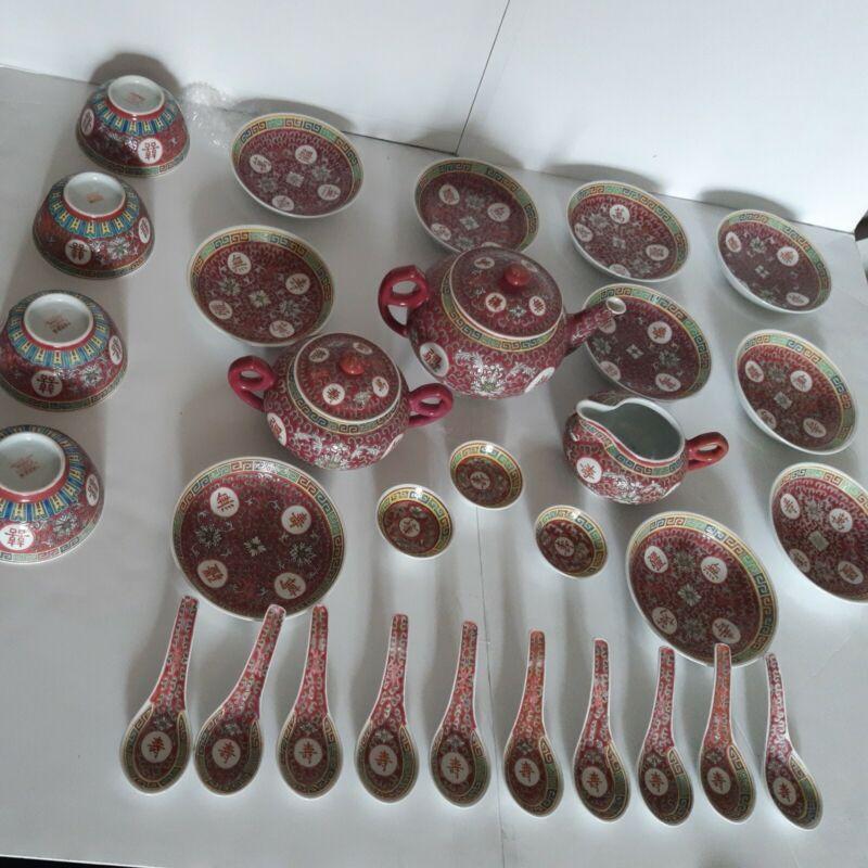 Jingdezhen Mun Shou Rose Tea Pot Creamer Sugar Set huge bowls