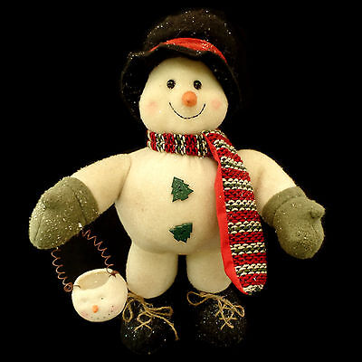 SNOWMAN FIGURE with CHRISTMAS TREE BUTTONS & SNOWMAN BUCKET / VINTAGE INSPIRED
