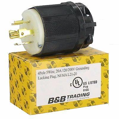 Nema L21 20 (NEMA L21-20 20 AMP 120/208V  3ØY 4 POLE 5 WIRE GROUNDING LOCKING MALE)